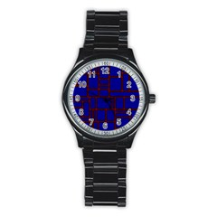Line Plaid Red Blue Stainless Steel Round Watch