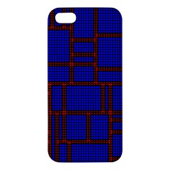 Line Plaid Red Blue iPhone 5S/ SE Premium Hardshell Case