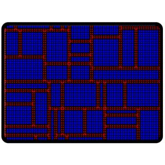 Line Plaid Red Blue Double Sided Fleece Blanket (Large)