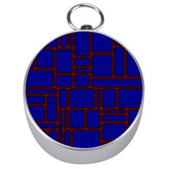 Line Plaid Red Blue Silver Compasses