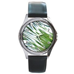 Fluorescent Flames Background Light Effect Abstract Round Metal Watch