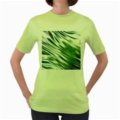 Fluorescent Flames Background Light Effect Abstract Women s Green T Shirt