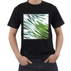 Fluorescent Flames Background Light Effect Abstract Men s T-Shirt (Black) (Two Sided)