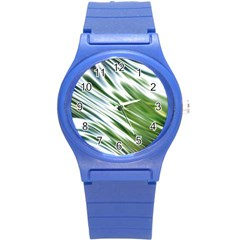 Fluorescent Flames Background Light Effect Abstract Round Plastic Sport Watch (S)