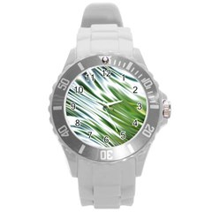 Fluorescent Flames Background Light Effect Abstract Round Plastic Sport Watch (l)