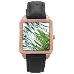 Fluorescent Flames Background Light Effect Abstract Rose Gold Leather Watch
