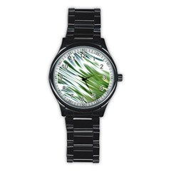 Fluorescent Flames Background Light Effect Abstract Stainless Steel Round Watch