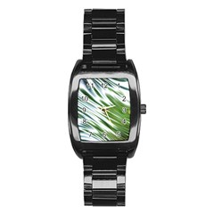 Fluorescent Flames Background Light Effect Abstract Stainless Steel Barrel Watch