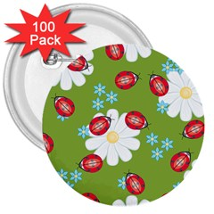 Insect Flower Floral Animals Star Green Red Sunflower 3  Buttons (100 pack)