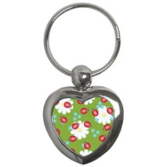 Insect Flower Floral Animals Star Green Red Sunflower Key Chains (Heart)