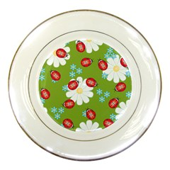 Insect Flower Floral Animals Star Green Red Sunflower Porcelain Plates