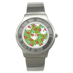 Insect Flower Floral Animals Star Green Red Sunflower Stainless Steel Watch