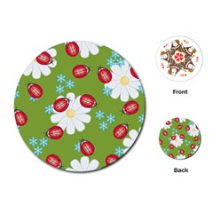 Insect Flower Floral Animals Star Green Red Sunflower Playing Cards (Round)