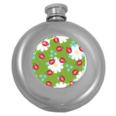 Insect Flower Floral Animals Star Green Red Sunflower Round Hip Flask (5 oz)