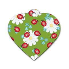 Insect Flower Floral Animals Star Green Red Sunflower Dog Tag Heart (Two Sides)