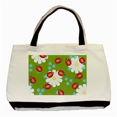 Insect Flower Floral Animals Star Green Red Sunflower Basic Tote Bag (Two Sides)