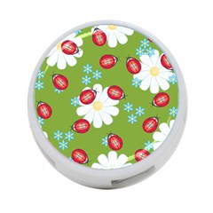 Insect Flower Floral Animals Star Green Red Sunflower 4-Port USB Hub (One Side)