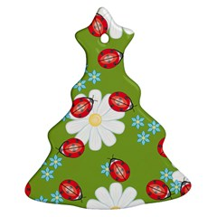 Insect Flower Floral Animals Star Green Red Sunflower Ornament (Christmas Tree)
