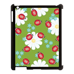Insect Flower Floral Animals Star Green Red Sunflower Apple iPad 3/4 Case (Black)