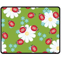 Insect Flower Floral Animals Star Green Red Sunflower Double Sided Fleece Blanket (Medium)