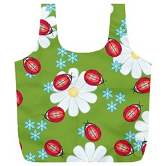 Insect Flower Floral Animals Star Green Red Sunflower Full Print Recycle Bags (L)