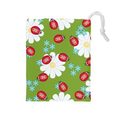 Insect Flower Floral Animals Star Green Red Sunflower Drawstring Pouches (Large)