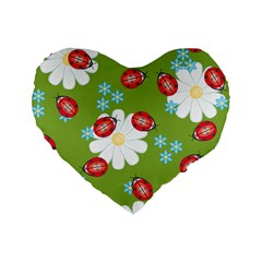 Insect Flower Floral Animals Star Green Red Sunflower Standard 16  Premium Flano Heart Shape Cushions