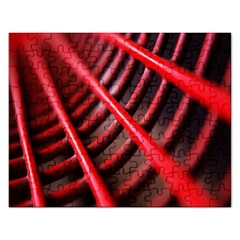 Abstract Of A Red Metal Chair Rectangular Jigsaw Puzzl