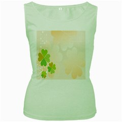Leaf Polka Dot Green Flower Star Women s Green Tank Top