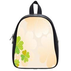 Leaf Polka Dot Green Flower Star School Bags (Small)