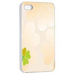 Leaf Polka Dot Green Flower Star Apple iPhone 4/4s Seamless Case (White)