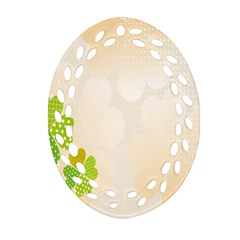 Leaf Polka Dot Green Flower Star Oval Filigree Ornament (Two Sides)