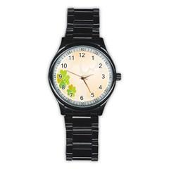 Leaf Polka Dot Green Flower Star Stainless Steel Round Watch