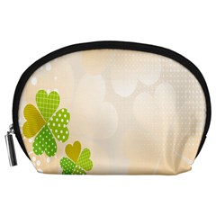 Leaf Polka Dot Green Flower Star Accessory Pouches (Large)