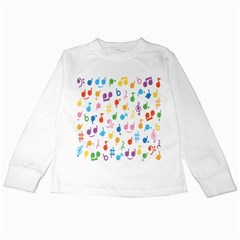 Musical Notes Kids Long Sleeve T-Shirts