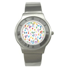 Musical Notes Stainless Steel Watch