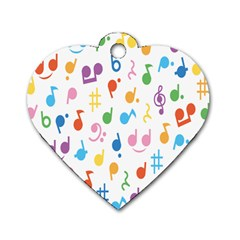 Musical Notes Dog Tag Heart (Two Sides)