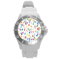Musical Notes Round Plastic Sport Watch (L)