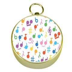 Musical Notes Gold Compasses