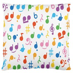 Musical Notes Large Flano Cushion Case (Two Sides)