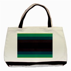 Neon Stripes Line Horizon Color Rainbow Yellow Blue Purple Black Basic Tote Bag (Two Sides)