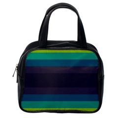 Neon Stripes Line Horizon Color Rainbow Yellow Blue Purple Black Classic Handbags (One Side)