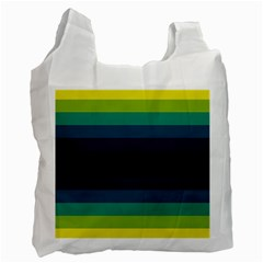 Neon Stripes Line Horizon Color Rainbow Yellow Blue Purple Black Recycle Bag (Two Side)