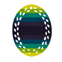 Neon Stripes Line Horizon Color Rainbow Yellow Blue Purple Black Ornament (Oval Filigree)