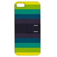 Neon Stripes Line Horizon Color Rainbow Yellow Blue Purple Black Apple iPhone 5 Hardshell Case with Stand