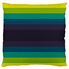 Neon Stripes Line Horizon Color Rainbow Yellow Blue Purple Black Standard Flano Cushion Case (One Side)