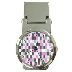 Pink Grey Black Plaid Original Money Clip Watches
