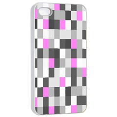 Pink Grey Black Plaid Original Apple iPhone 4/4s Seamless Case (White)