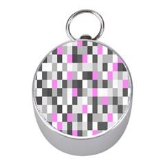 Pink Grey Black Plaid Original Mini Silver Compasses