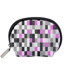 Pink Grey Black Plaid Original Accessory Pouches (small)